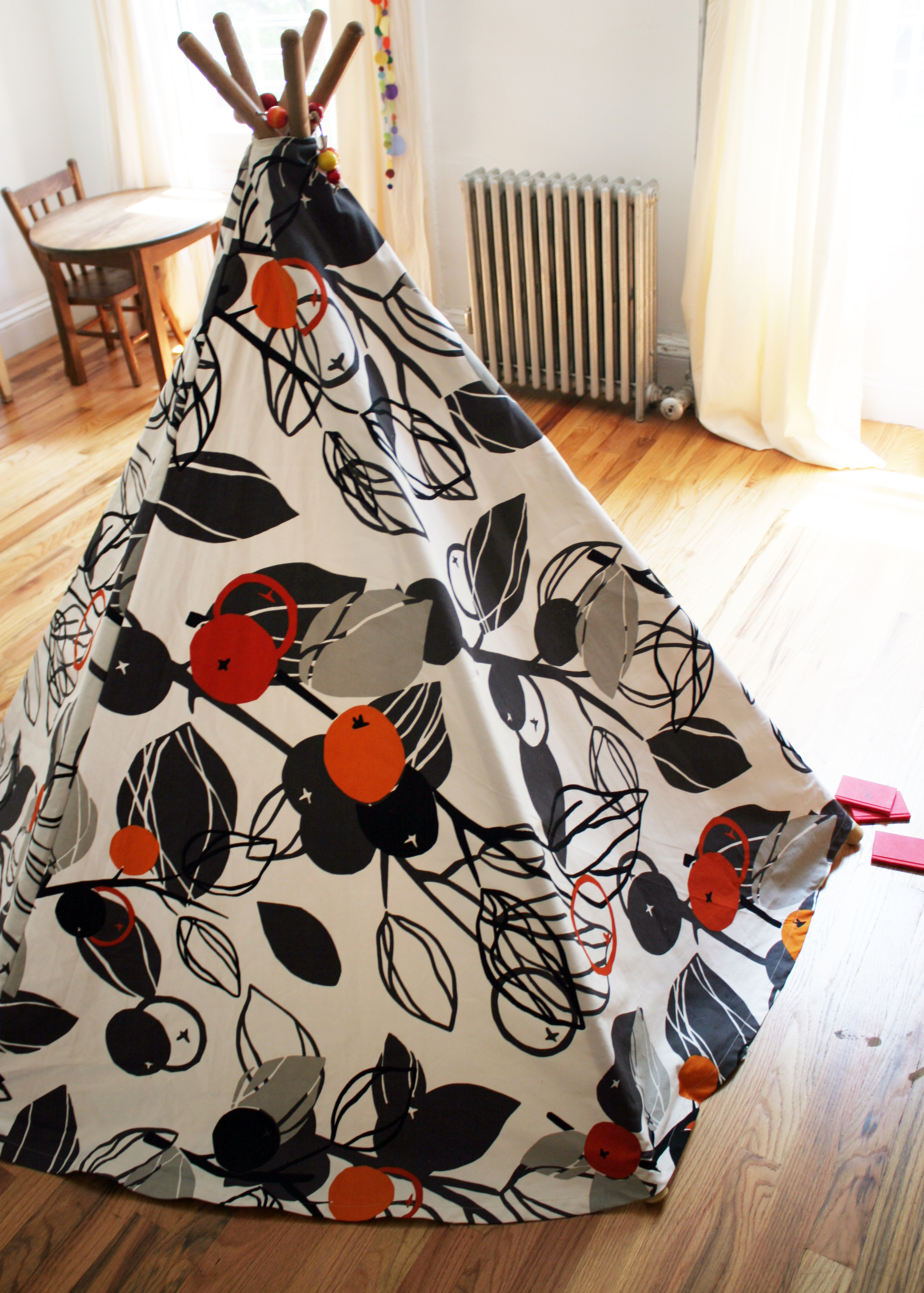 I made this teepee for Ada when she was little (although I think technically Santa gets the credit). She and Josie have been using it to play at c&ing in ... & DIY Ikea Fabric Teepee Tent | Domesticspace