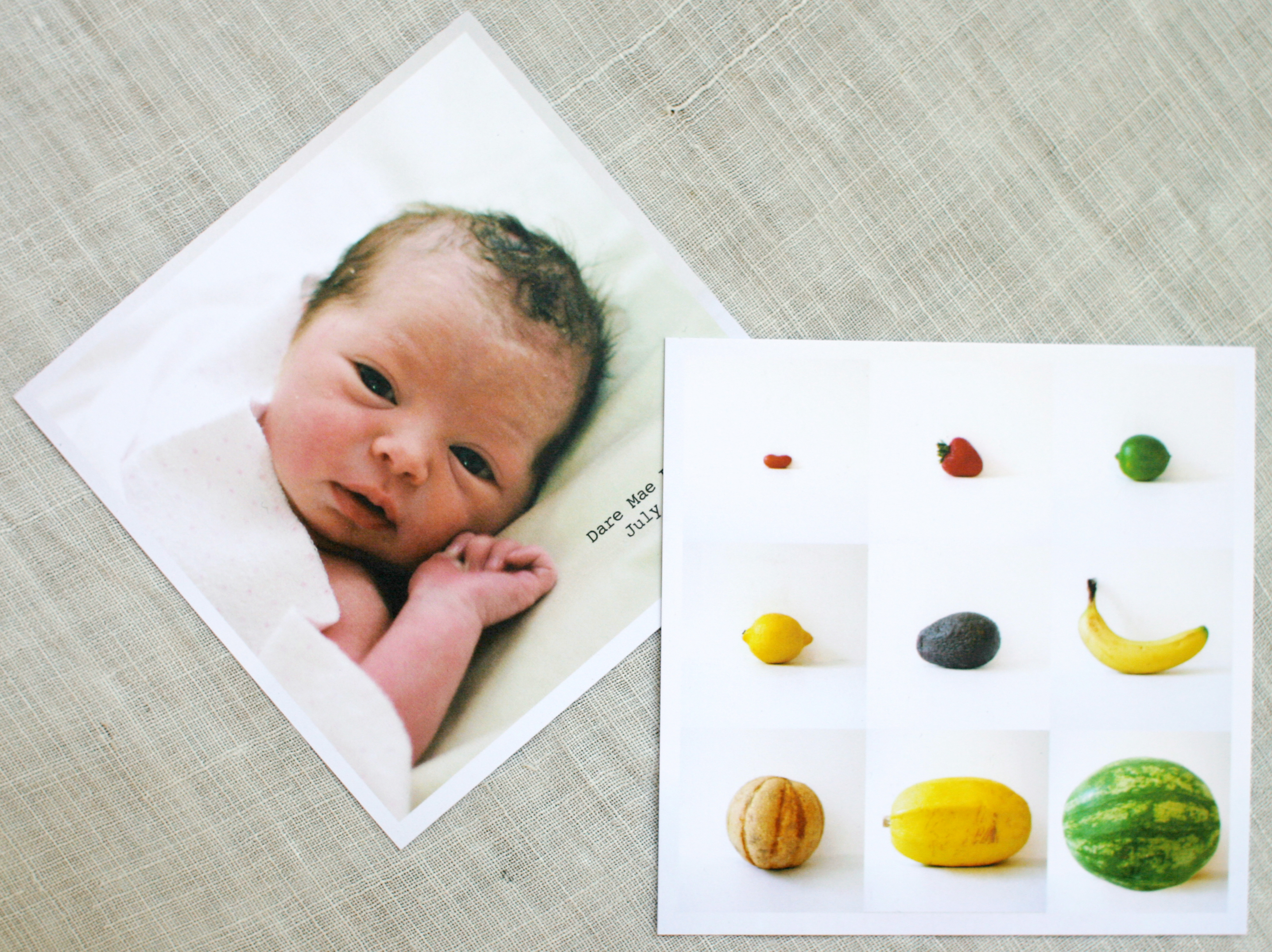 DIY Fruit and Veggie Birth Announcement – Diy Baby Announcements